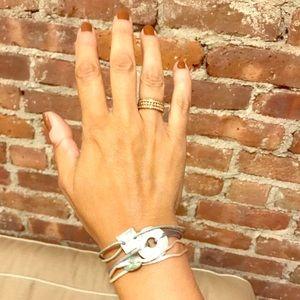 Bundle of 3 MOP, jasper, leather, silk bracelets